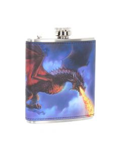Fire in the Sky Hip Flask (JR) 7oz Dragons Articles en Vente Artist Collections