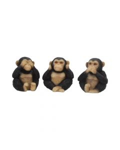 Three Wise Chimps 8cm Apes & Primates De retour en stock Value Range