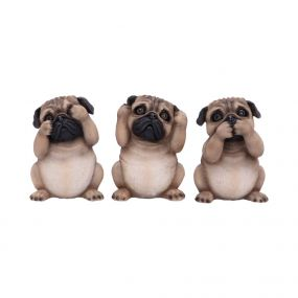 Three Wise Pugs 8.5cm