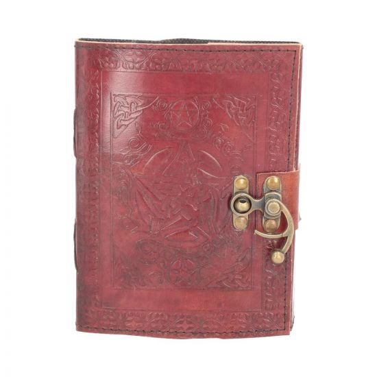 Pentagram Leather Journal w/lock 15 x 21cm Witchcraft & Wiccan Sorcellerie et Wiccan